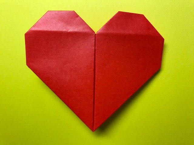 折り紙 ハート 1枚の折り紙から二枚重ねのハートの折り方・作り方