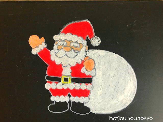 黒板アートでクリスマスツリーの簡単な描き方サンタやトナカイも