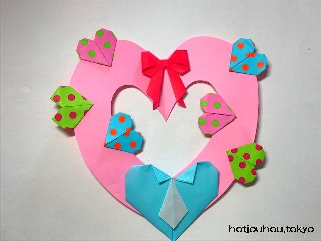 バレンタインの折り紙 リースハートの窓立体の箱などが簡単 暮らし