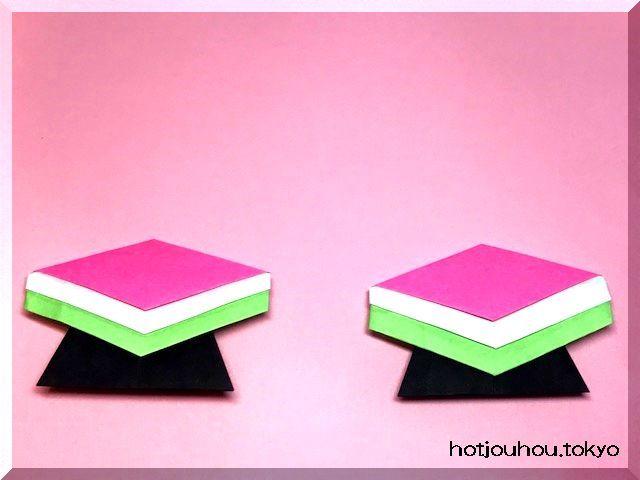 ひな祭り、菱餅の折り紙