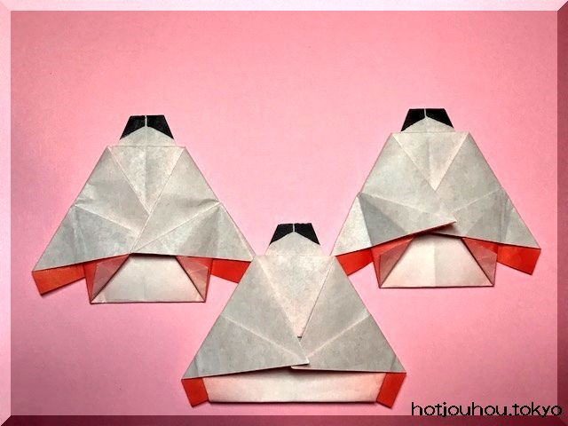 ひな祭り、三人官女の折り紙
